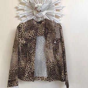 Lisa International leopard spring fall jacket EUC
